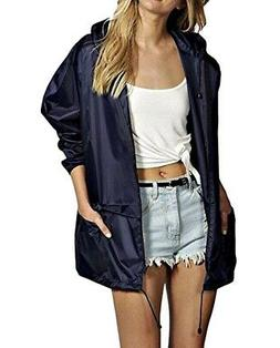 Meaneor Womens Jacket Navy Blue Size Small S Rain Lightweigh