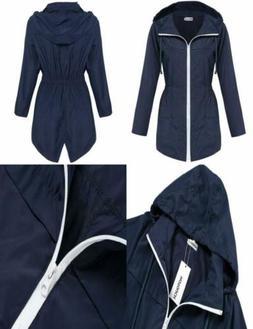 womens lightweight travel trench waterproof raincoat hoodie