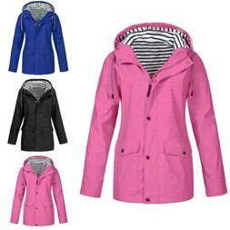 Womens Long Sleeve Hooded Wind Jacket Ladies Outdoor Winter