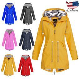 Womens Long Sleeve Hooded Wind Jacket Lady Outdoor Waterproo