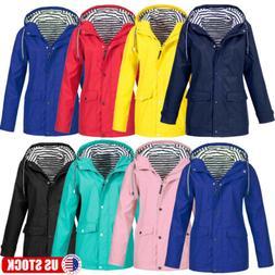 Womens Long Sleeve Hooded Wind Jacket Outdoor Waterproof Zip