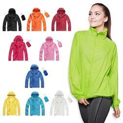Womens Mens Lightweight Rain Coat Hoodie Waterproof Windproo