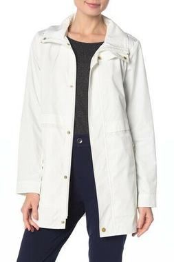 Cole Haan Womens Packable Hooded Rain Jacket Coat in White S