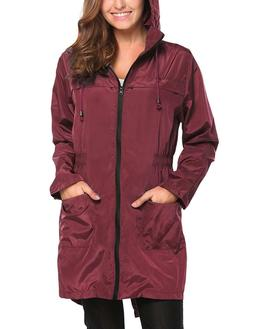Hotouch Womens PLUS XXL Wine Red Trench Waterproof LIGHTWEIG