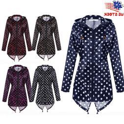Womens Polka Dot Raincover Raincoat Rain Waterproof Poncho C