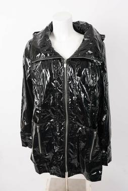 UBU Womens Rain Coat Jacket Black XL Patent Hooded Water Rep
