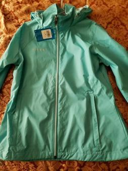 womens rain coat jacket m teal full