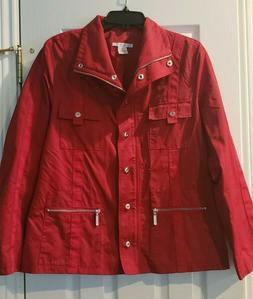 CAbi  WOMENS RAIN COAT JACKET SZ L RED BRAND NEW FULL ZIP PO
