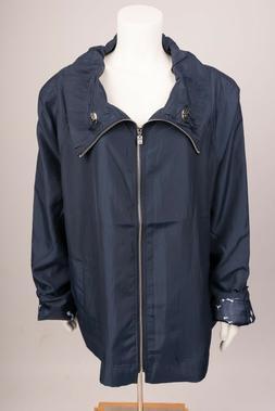 UBU Womens Rain Coat Jacket Travel Plus Size 2X XXL Navy Blu