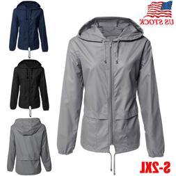 Womens Raincoat Windproof Waterproof Jacket Windbreaker Hood