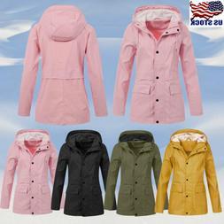 Womens Waterproof Jacket Raincoat Ladies Outdoor Hooded Wind