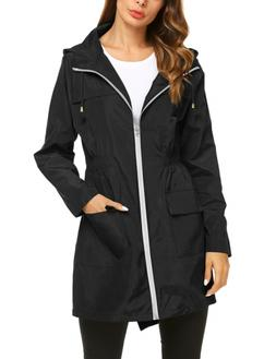 ZHENWEI Womens Waterproof Lightweight Raincoat Hooded Outdoo