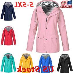 Womens Waterproof Long Sleeve Zip Up Wind Jacket Ladies Wint