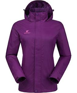 CAMEL CROWN Womens Waterproof Rain Jacket Hooded Windbreaker