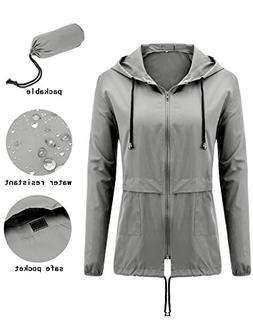 womens waterproof raincoat lightweight hooded outdoor rain