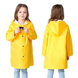 US Stock Yellow Children Kid Hooded Raincoat Rain Coat Rainw
