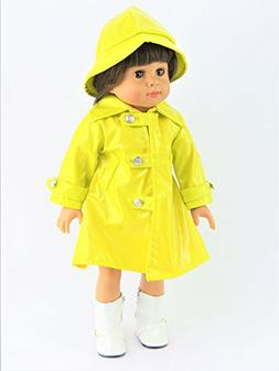 Yellow Rain Coat with Hat - Rainboots & Doll NOT INCLUDED -
