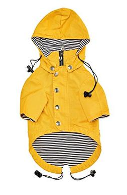 Ellie Dog Wear Yellow Zip up Dog Raincoat Reflective Buttons
