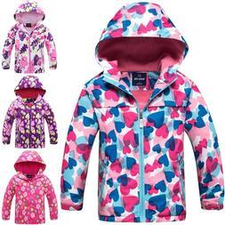 Youth Girls Waterproof Jacket Kids Windproof Hooded Rain Coa