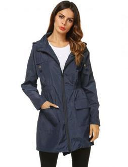 zhenwei Women Waterproof Jacket Lightweight Hooded Rain Coat