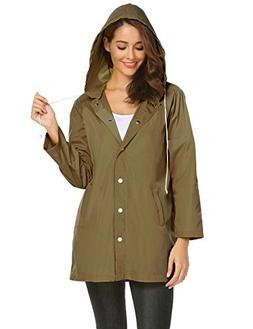 zhenwei Womens Rain Jacket Waterproof Lightweight Raincoat O