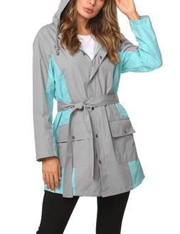ZHENWEI Long Rain Jacket Women Lined Raincoat Outdoor Casual