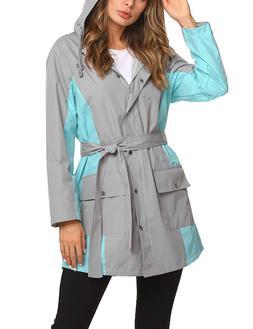 ZHENWEI Long Rain Jacket Women Lined Raincoat Outdoor Casual