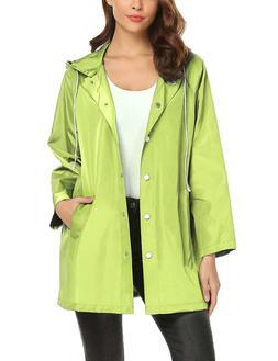 ZHENWEI Rain Jacket Women Waterproof with Hood Windbreaker O