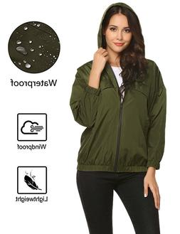 ZHENWEI Women's Lightweight Waterproof Jacket Casual Zip Hoo