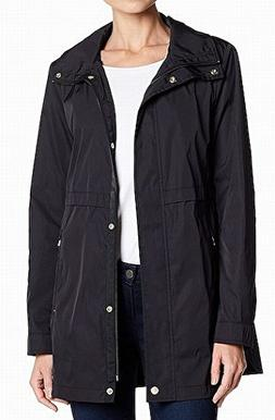 Cole Haan Womens Zip Front Double Face Packable Rain Jacket